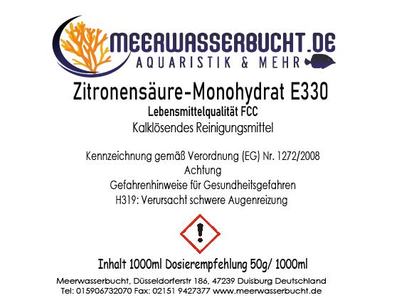 Zitronensäure Monohydrat E330 Lebensmittelqualität Entkalker